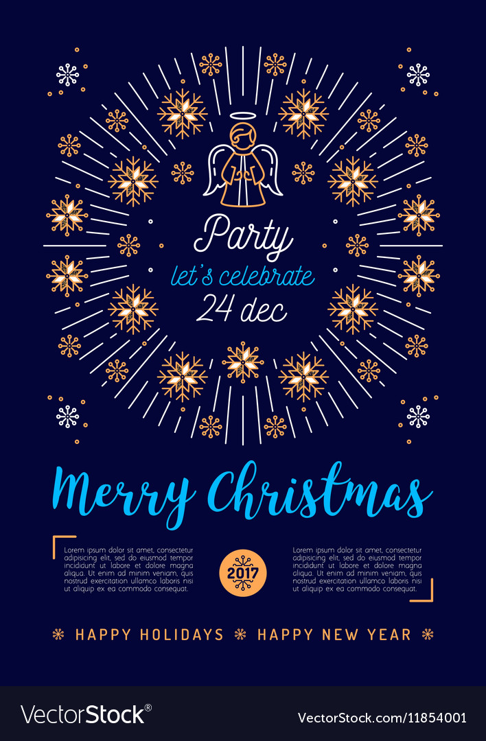 Christmas poster holiday xmas party flyer vector