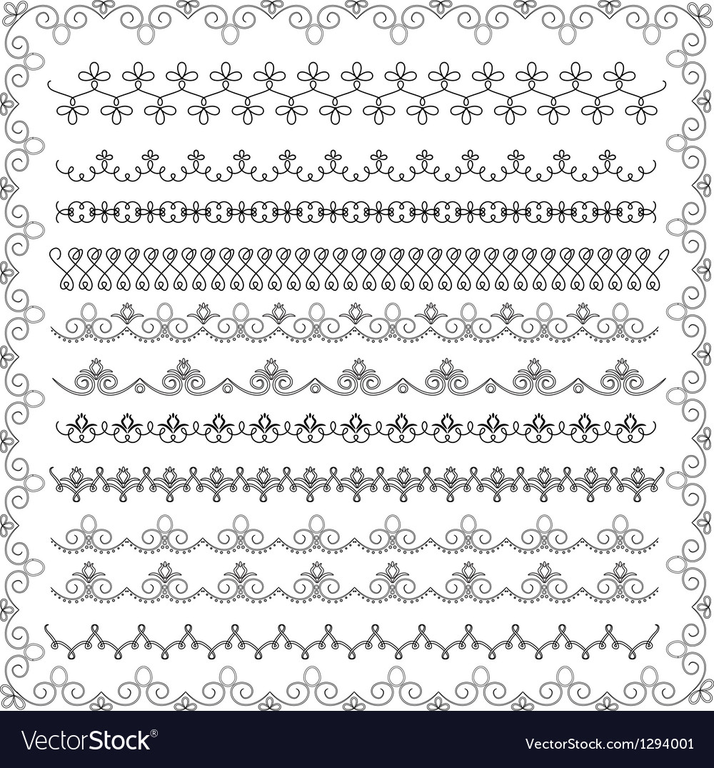 Set of lace border vector