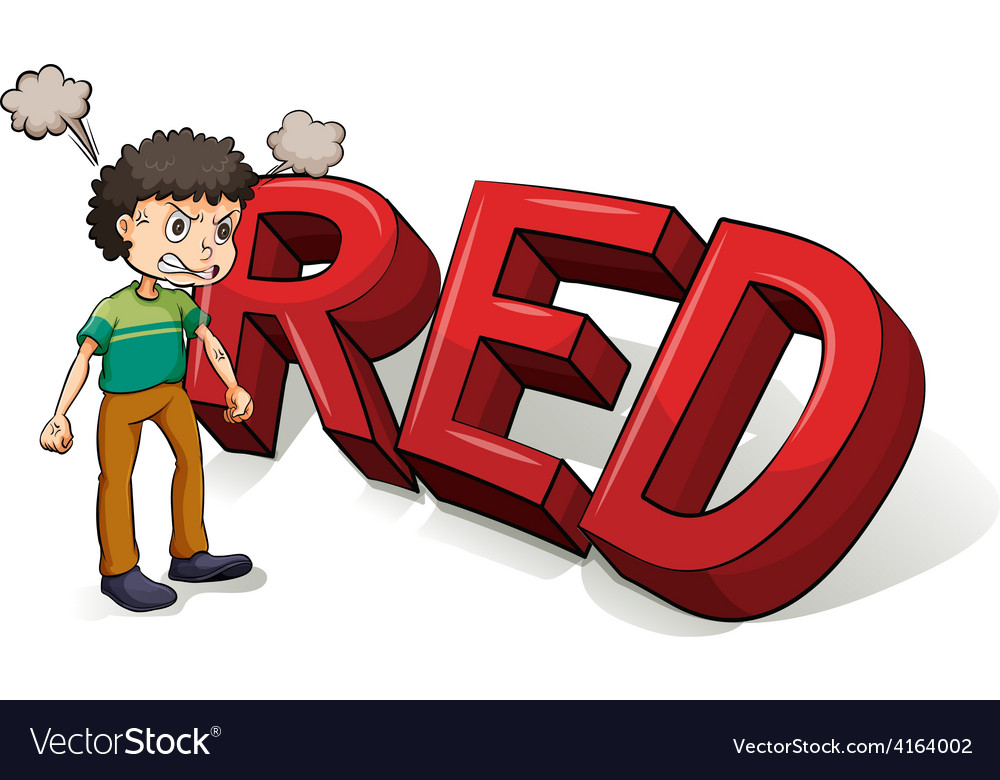 Boy beside the big red letters vector