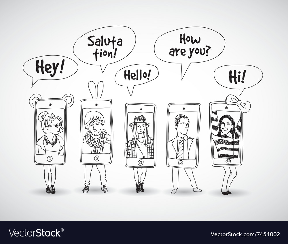 Mobile phones standing group happy communication vector