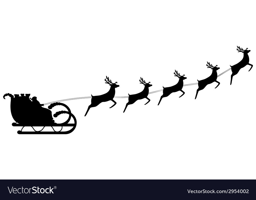 Santa claus rides in harness on the reindeer vector