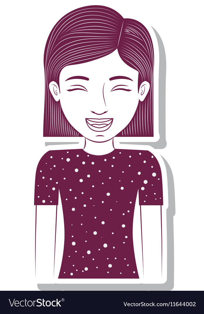 Silhouette teenager with striped short hair vector