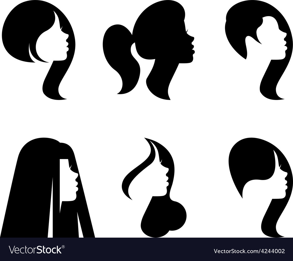 Silhouettes of heads of women with differen vector