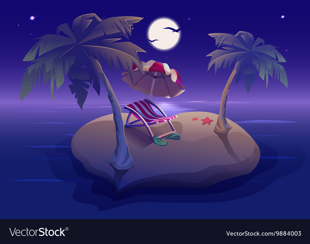 Summer rest romantic night on tropical island vector