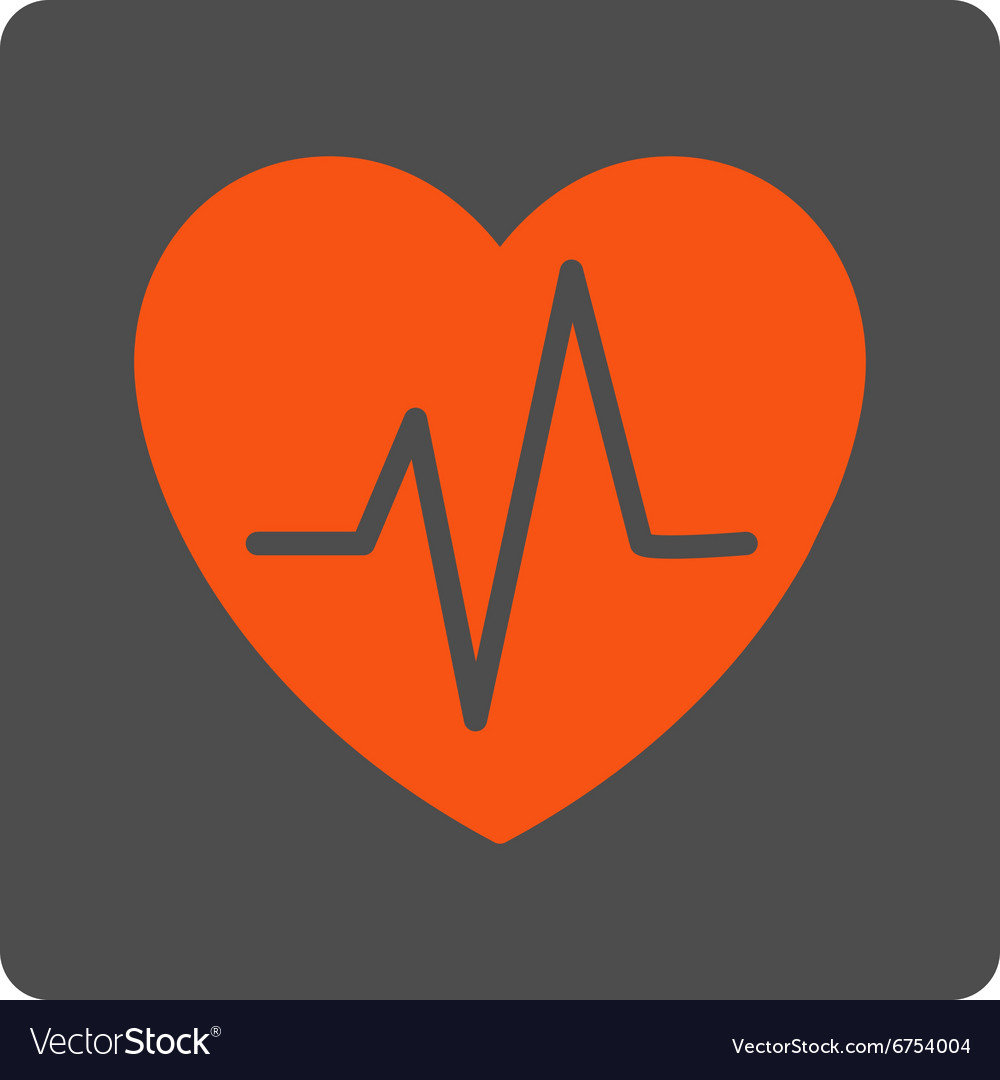 Heart ekg rounded square button vector
