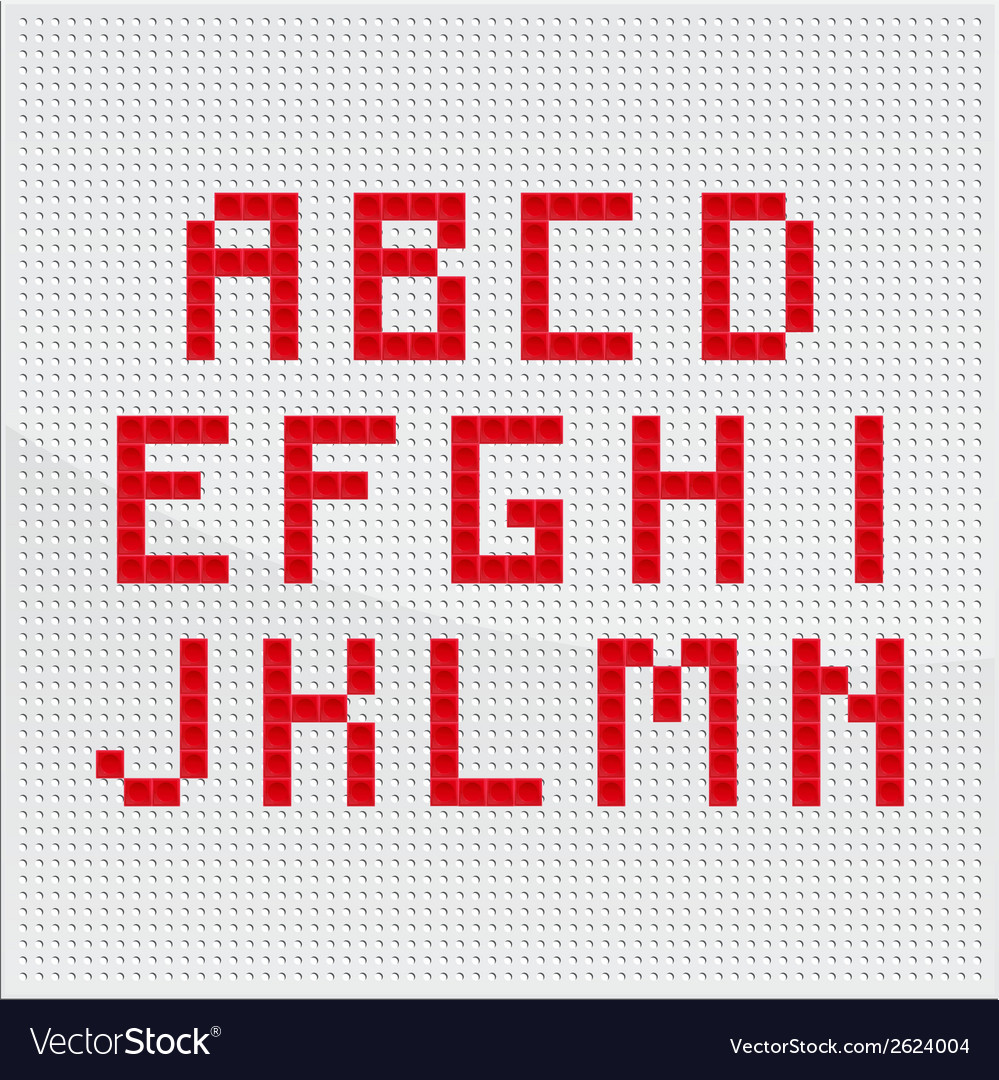 Red mosaic alphabet part one vector