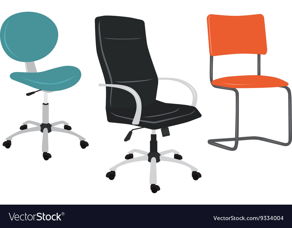 Set of office chairs vector
