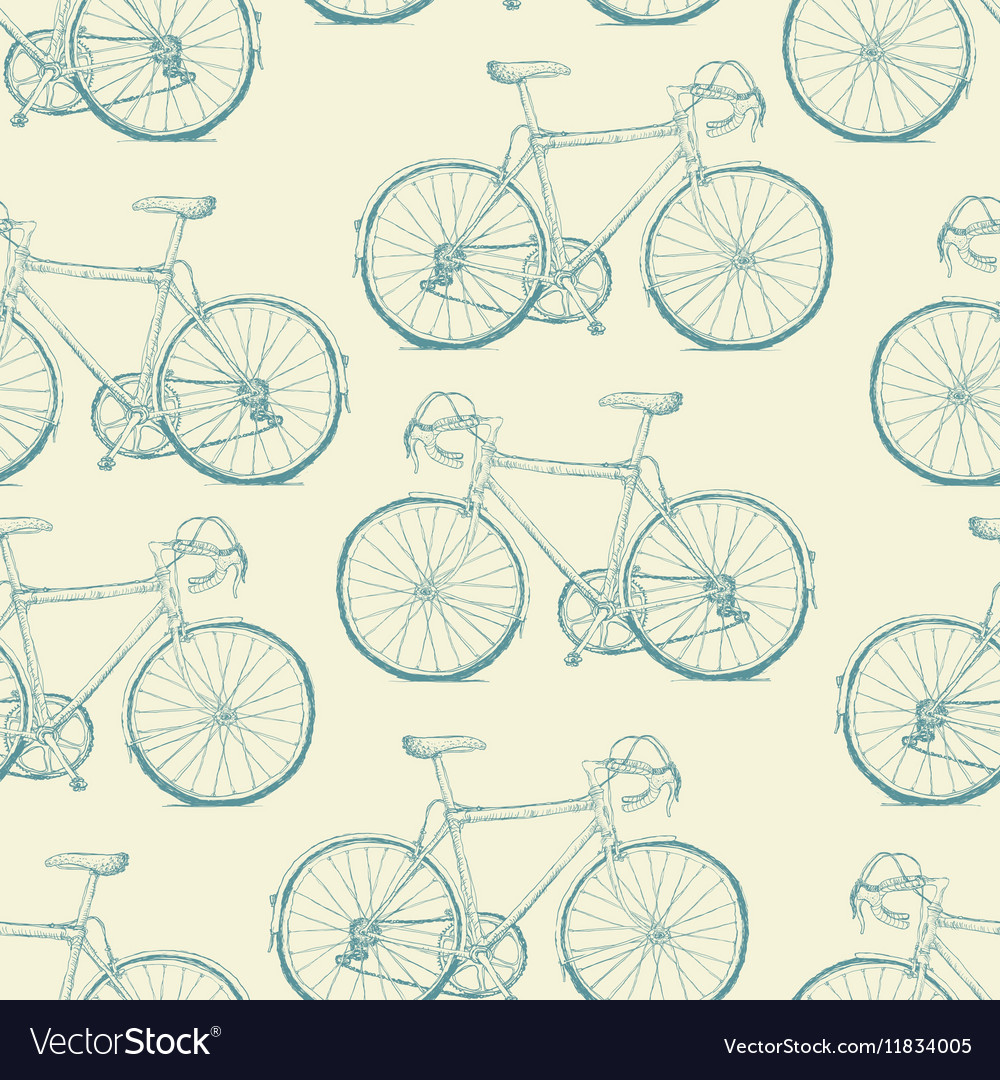 Handdrawn bicycles seamless pattern vintage retro vector