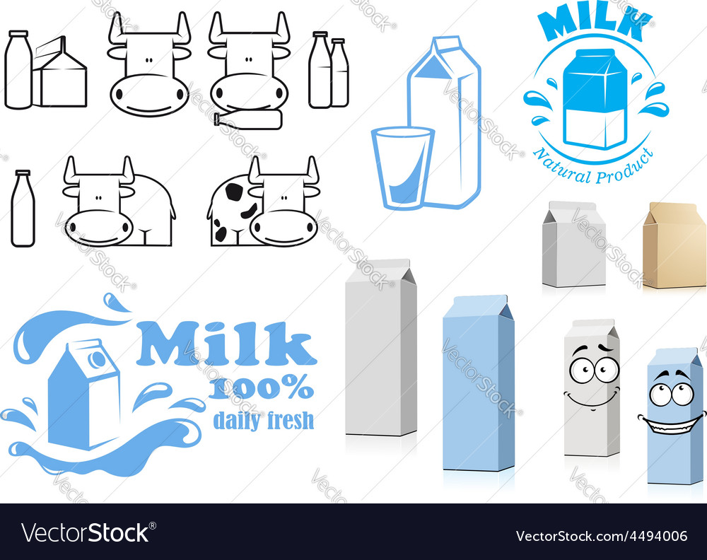 Milk packages cartoon characters with design vector