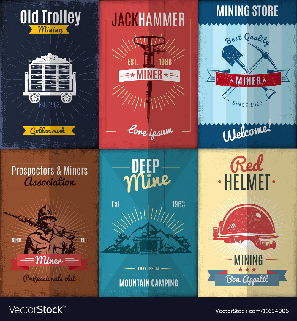 Mining industry posters collection vector