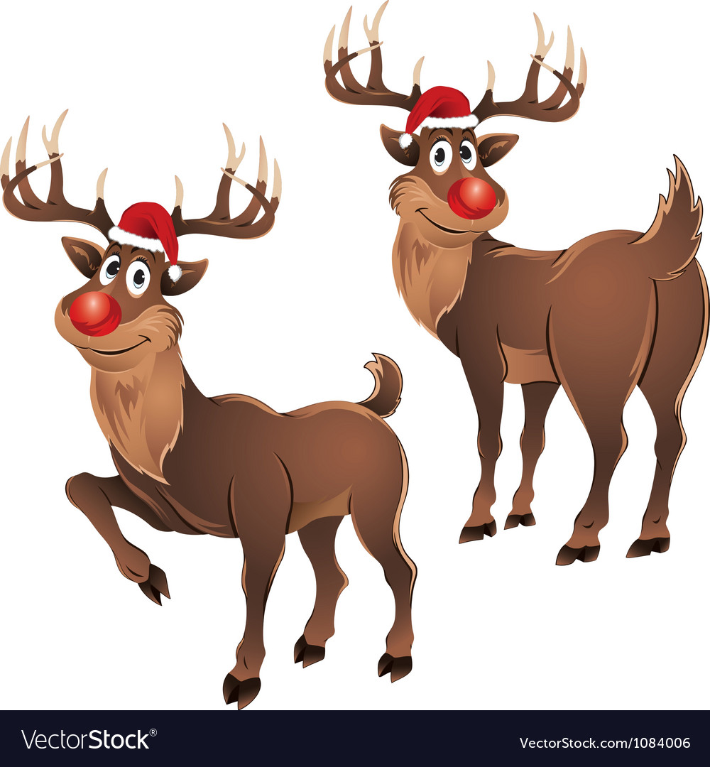 Rudolph the reindeer two poses vector