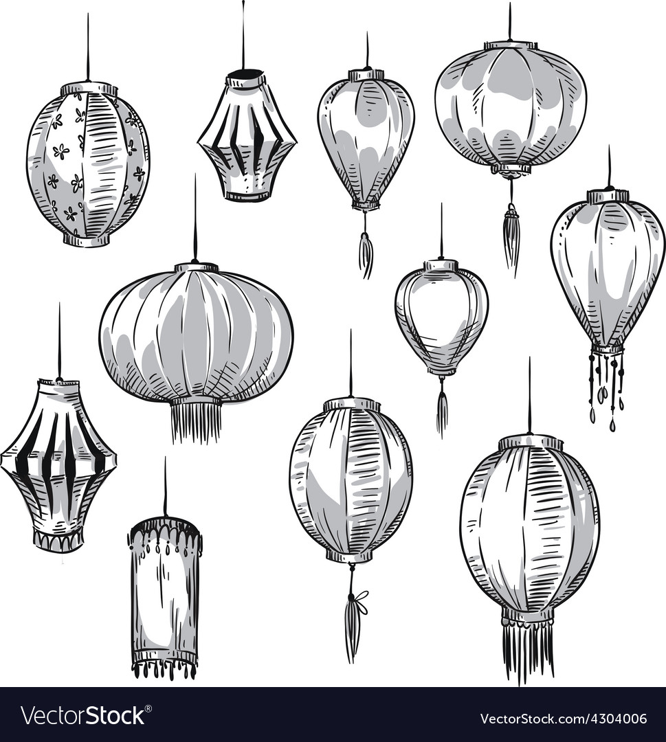 Set of chinese lanterns vector