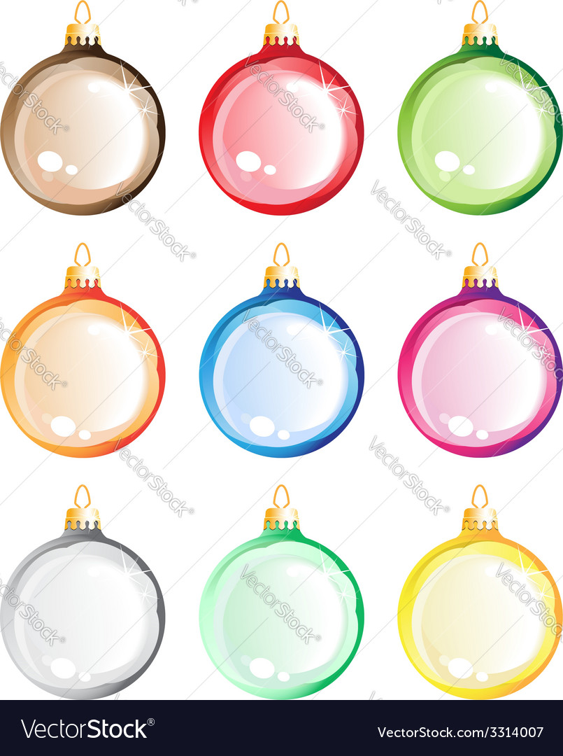 Christmas tree balls set vector
