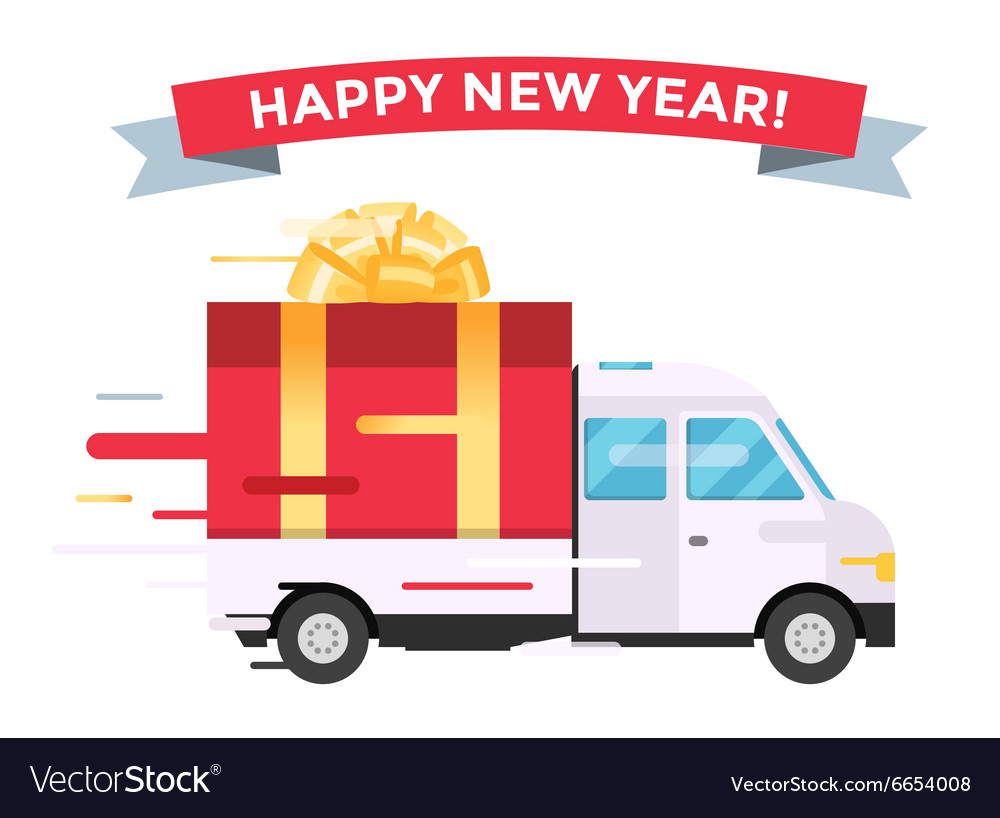 Delivery transport truck van christmas gift vector