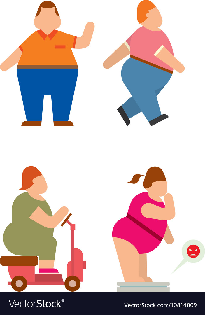 Fat human silhouette flat vector