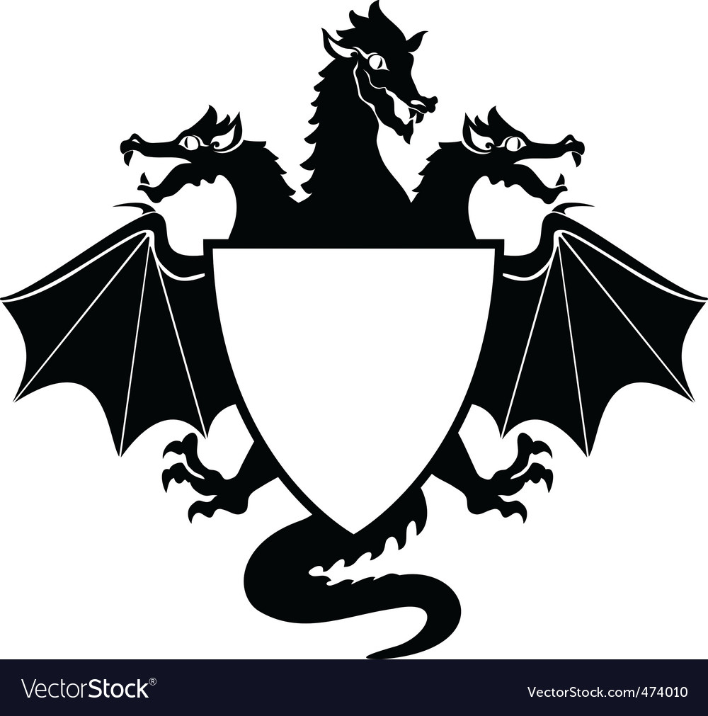 Dragon shield vector
