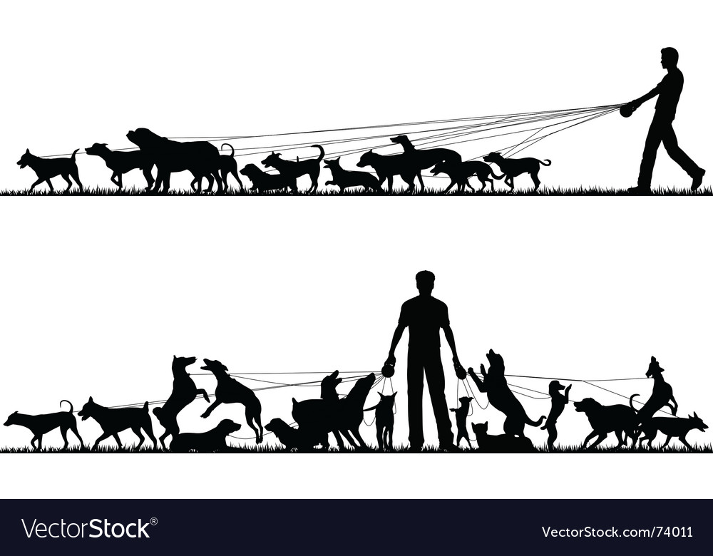 Dog walker vector