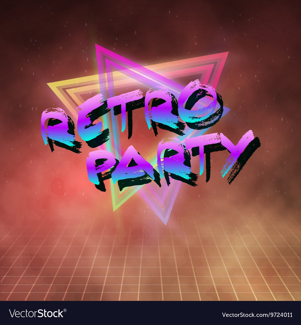 Retro party 1980 neon poster retro disco 80s vector