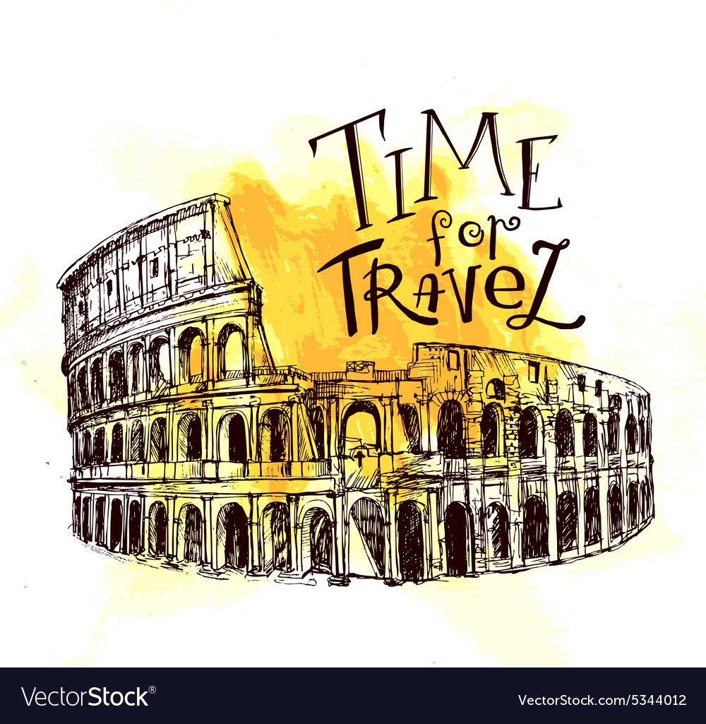 Coliseum hand drawn vector