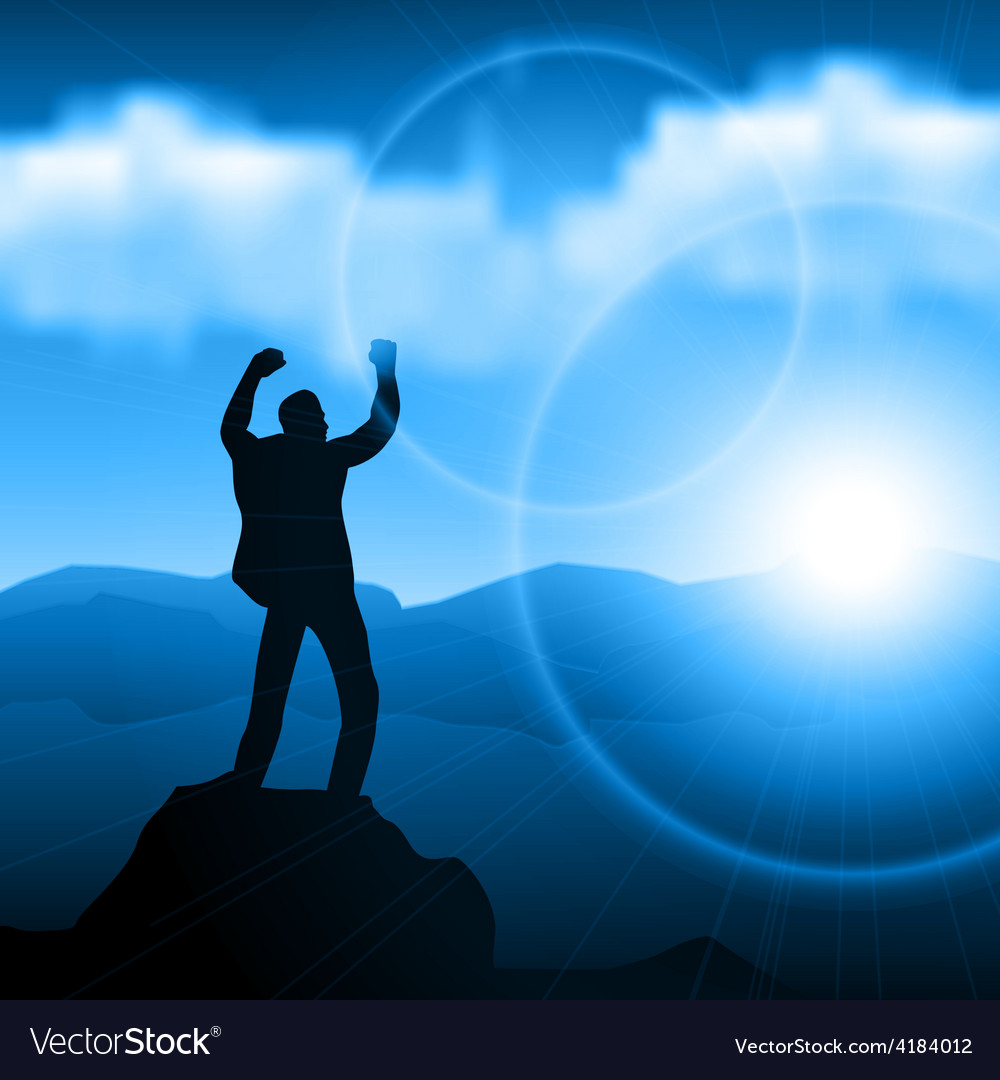 Hiker standing on top of a mountain and enjoying vector