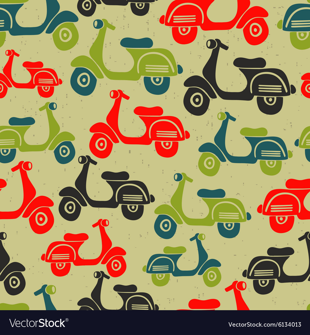 Seamless pattern with vintage scooters vector