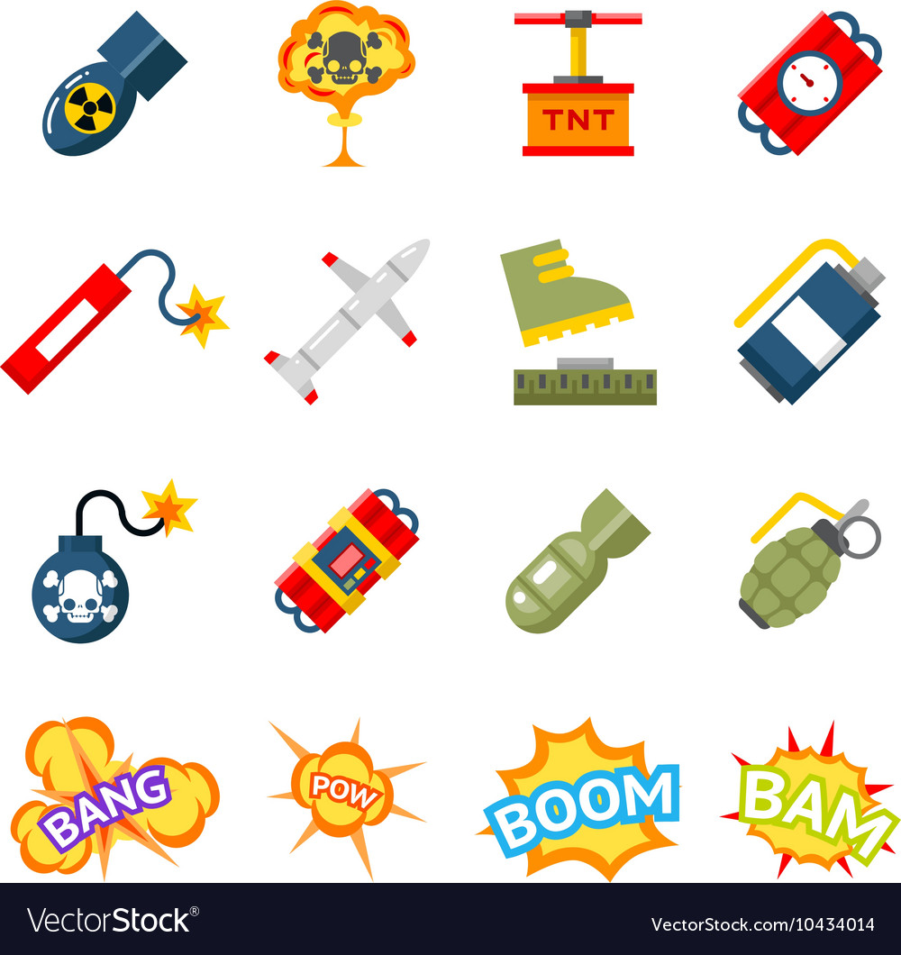 Bomb flat icons bombs and explosives pictograms vector