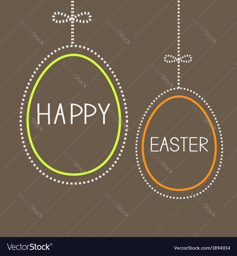 Hanging empty easter eggs with dash line and bow vector