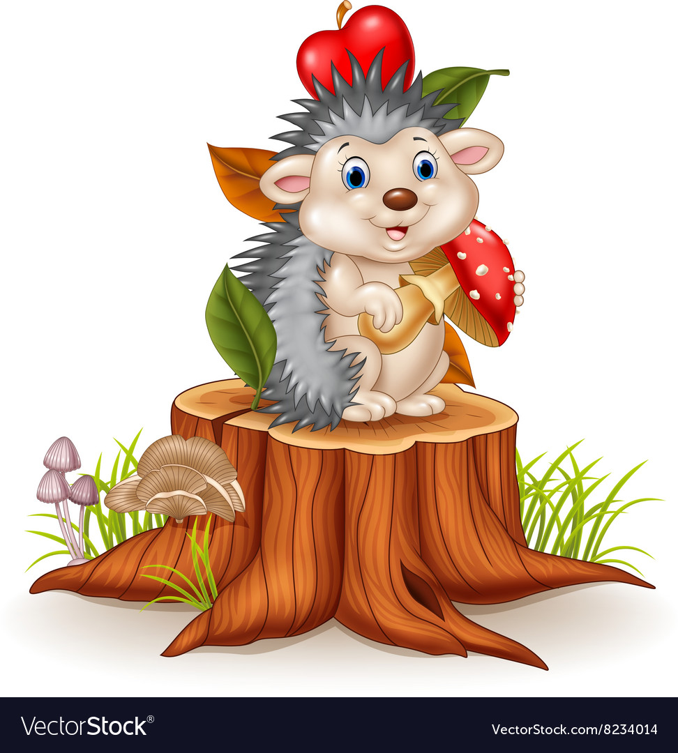 Little hedgehog holding mushroom on tree stump vector