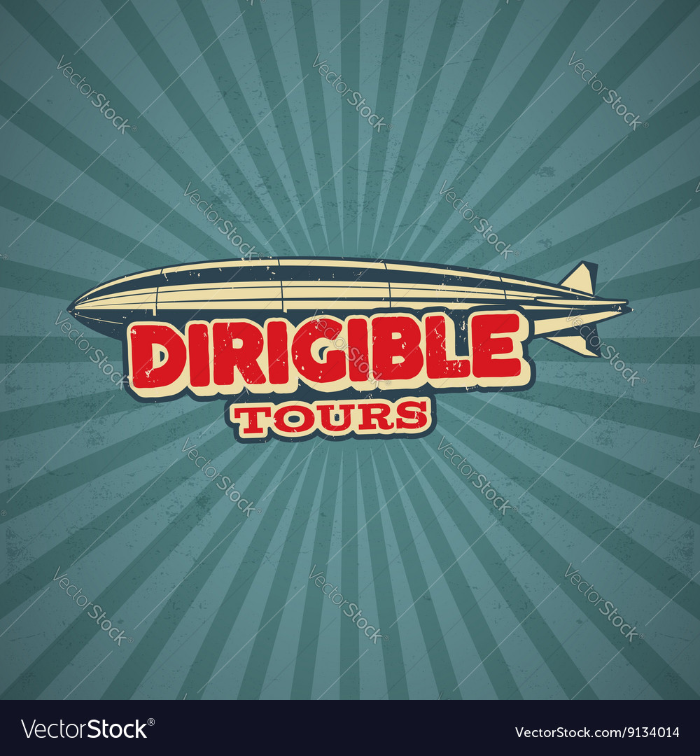 Vintage airship poster design retro dirigible 50s vector