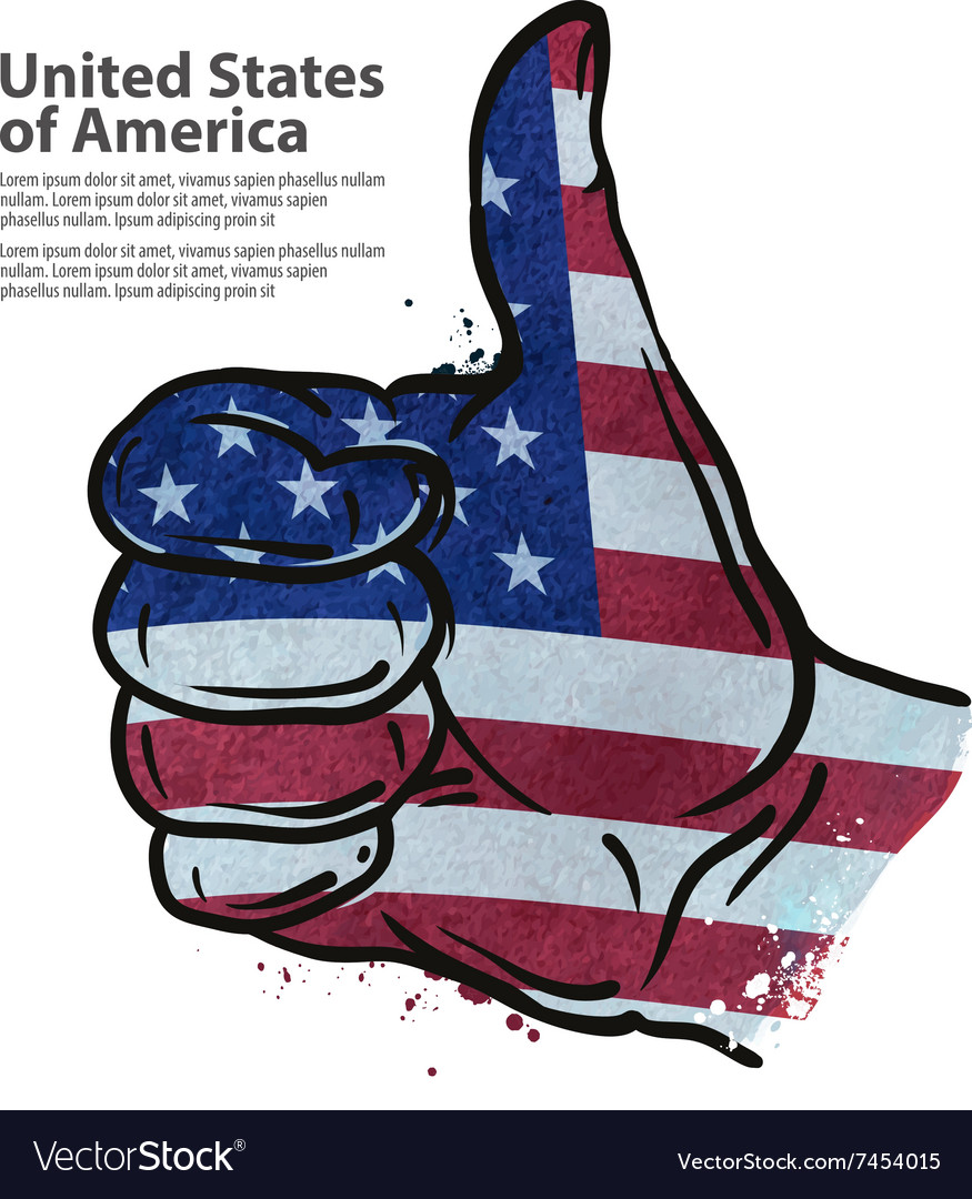 Hand gesture thumb up flag of the usa vector