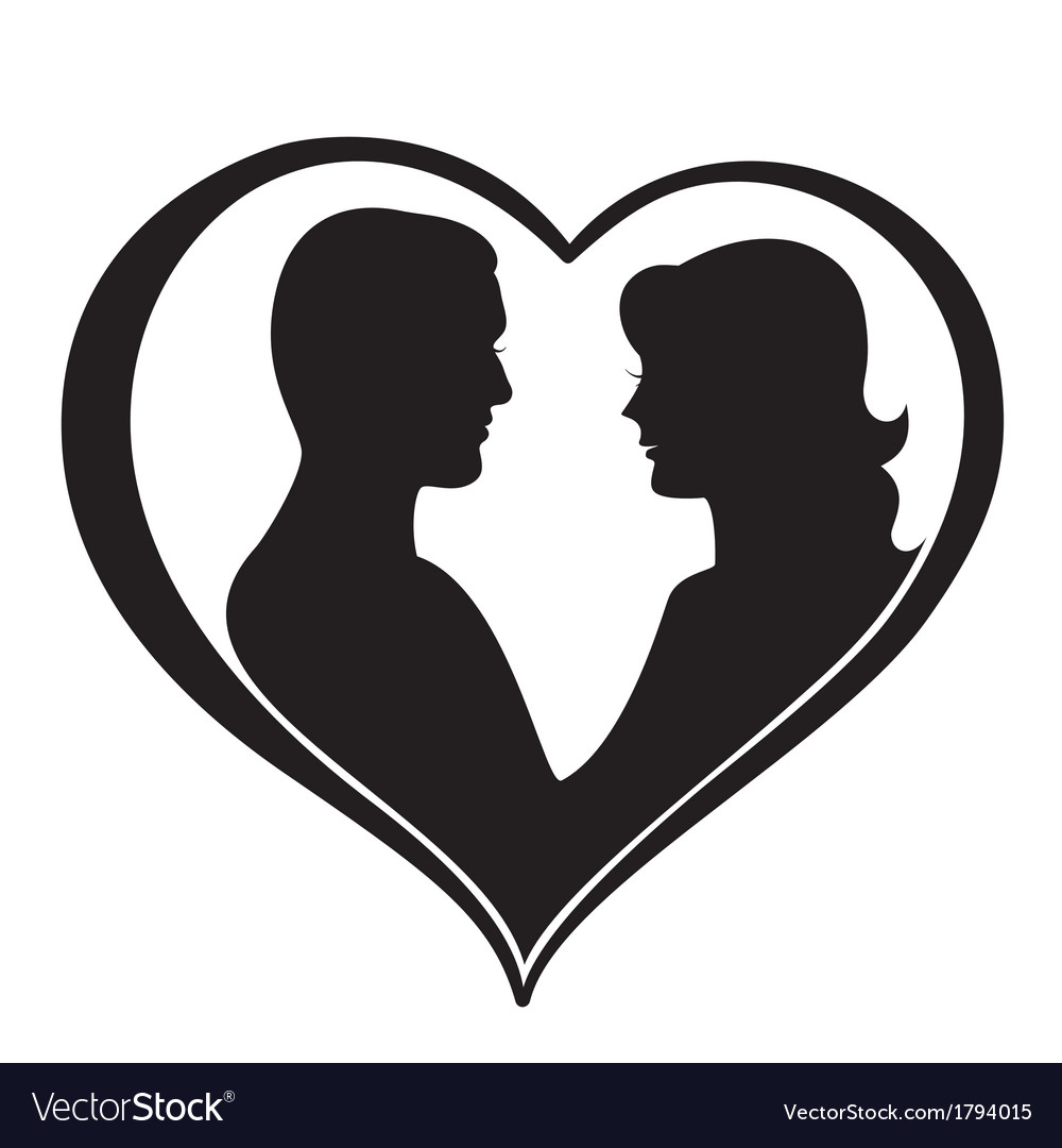 Man and woman silhouette in heart shape vector