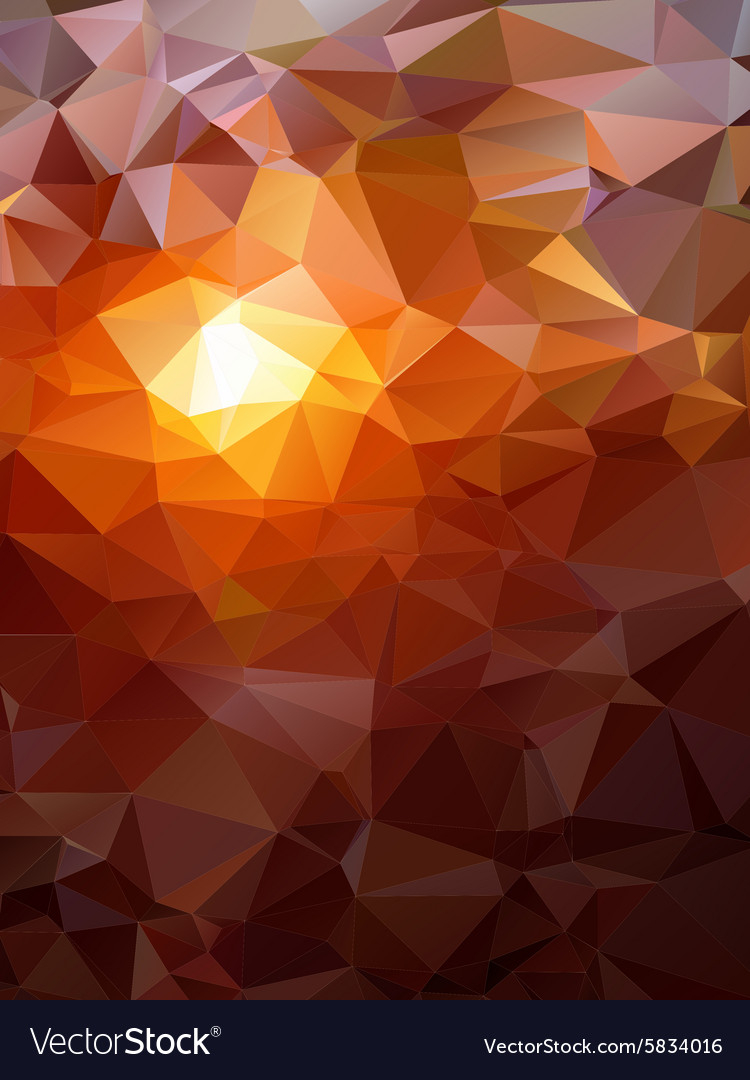 Geometric polygonal sunset landscape with vector