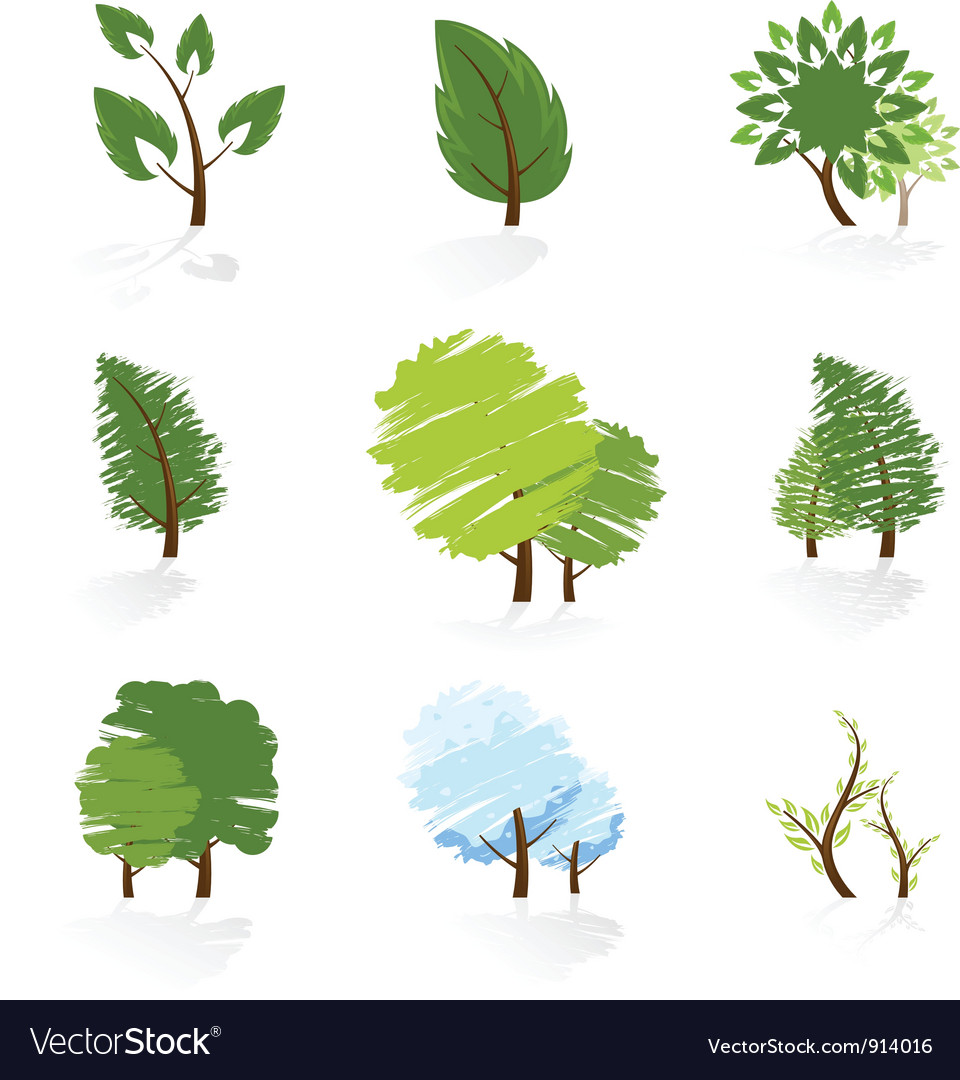 Tree symbols set vector