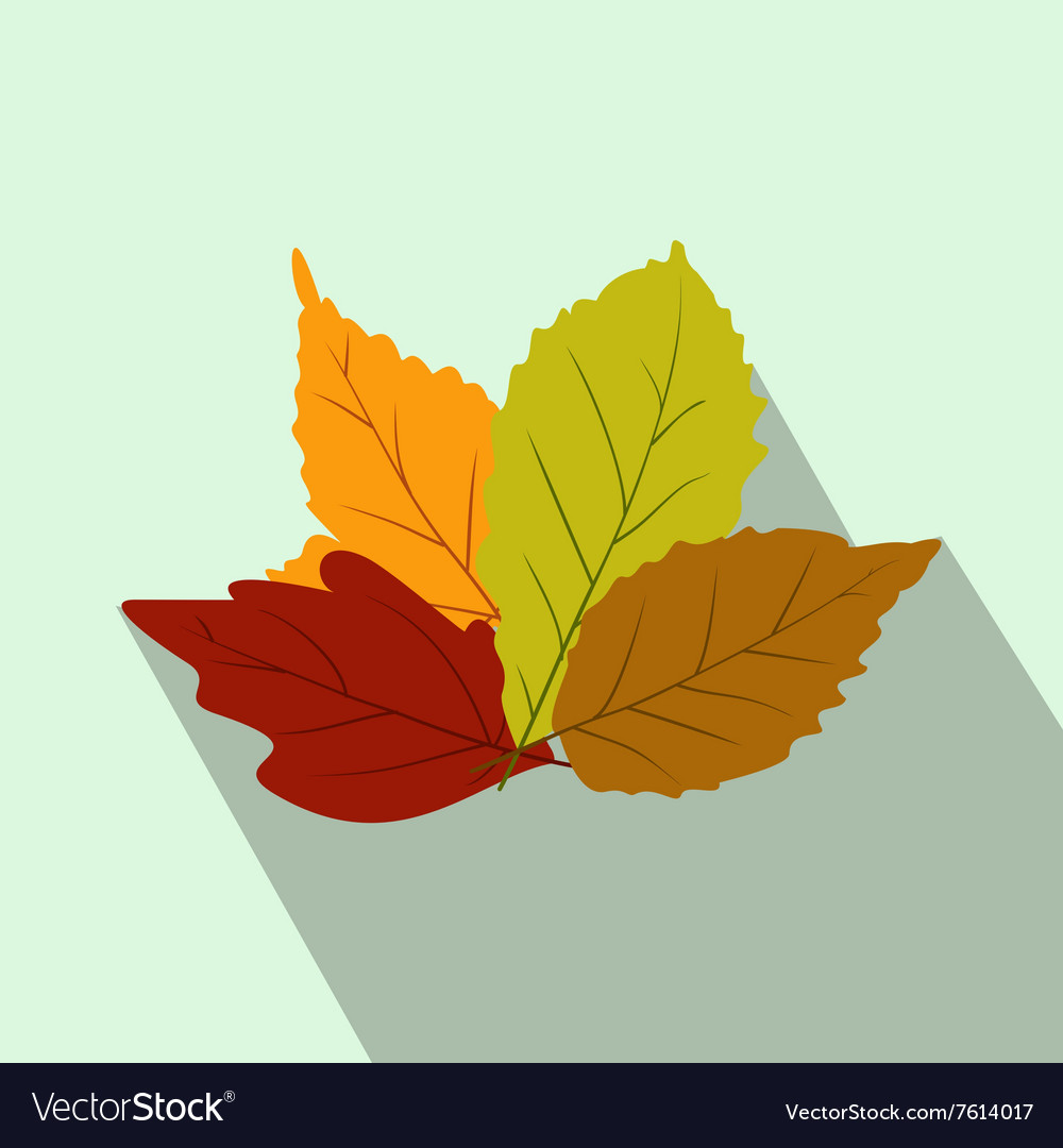 Autumn leaves flat icon with shadow vector
