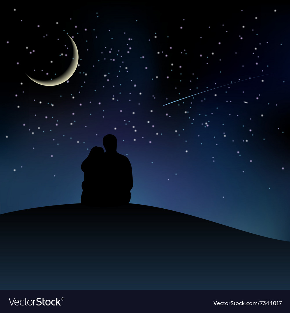 Black couple silhouettes sitting on the hill and vector