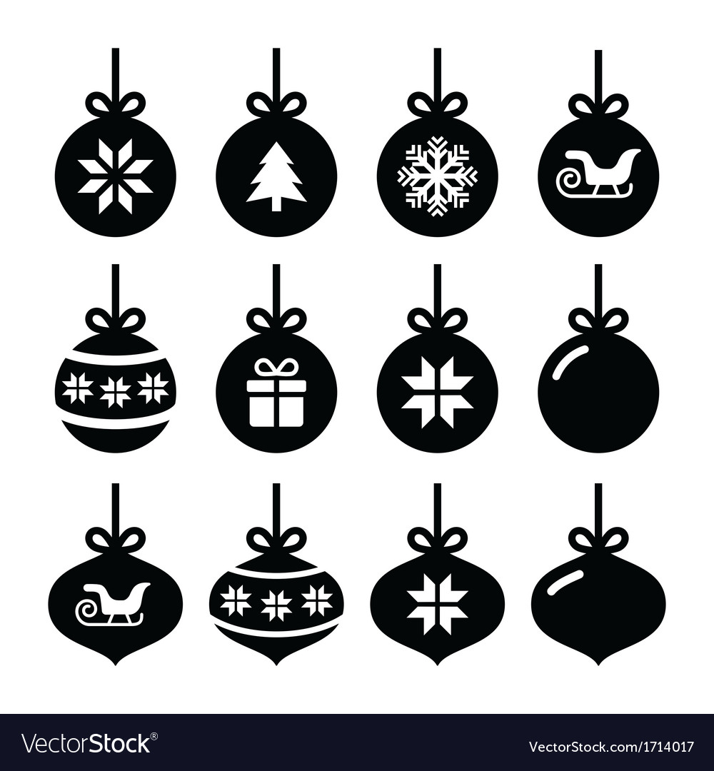 Christmas ball christmas bauble icons set vector