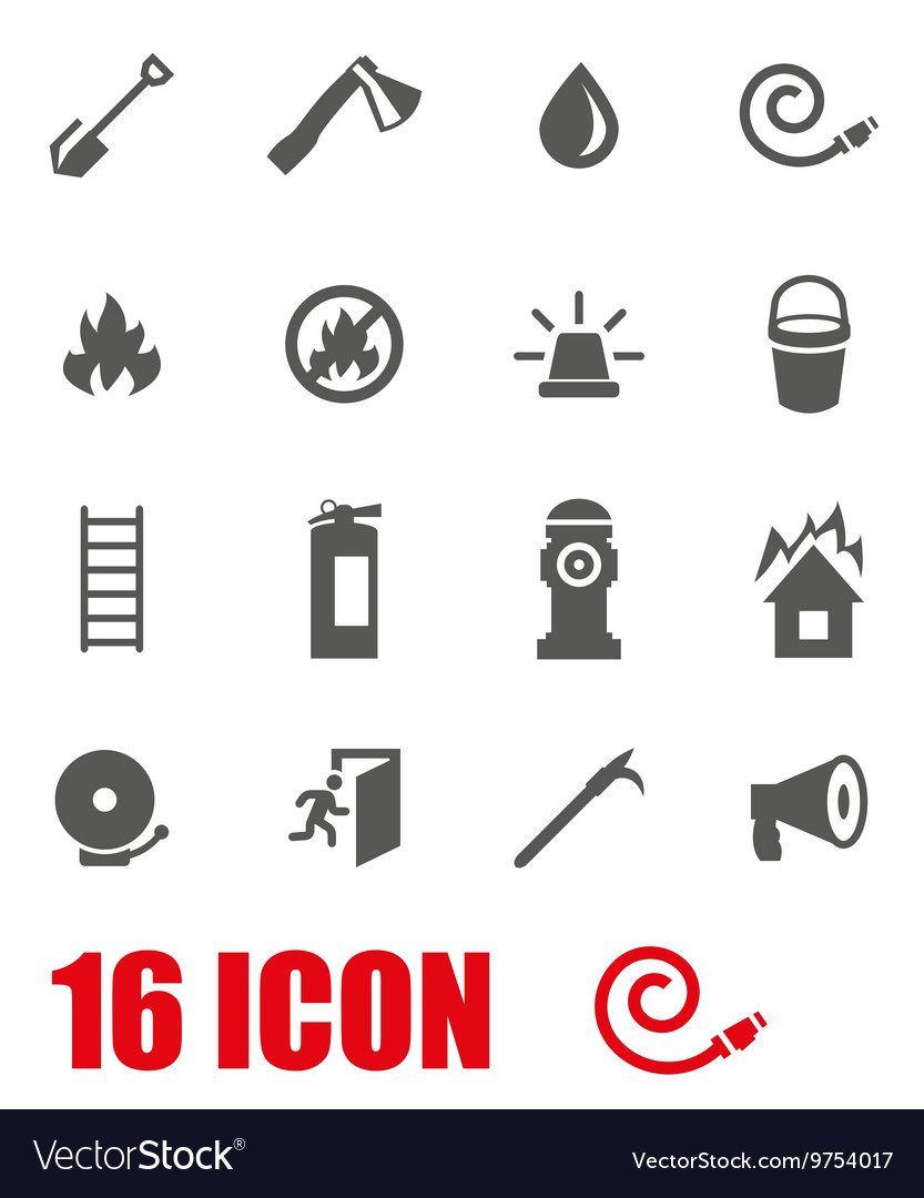 Grey firefighter icon set vector
