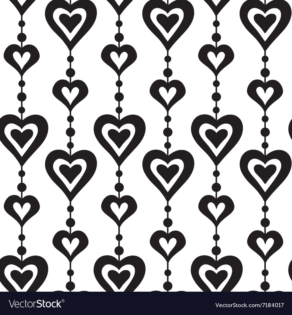 Hearts and pearls seamless pattern vector