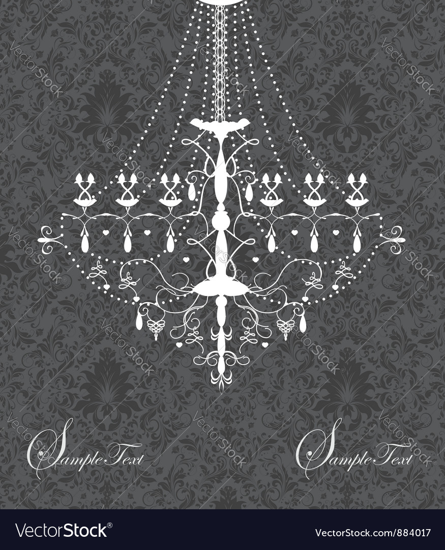 Invitation card with luxury chandelier on floral b vector