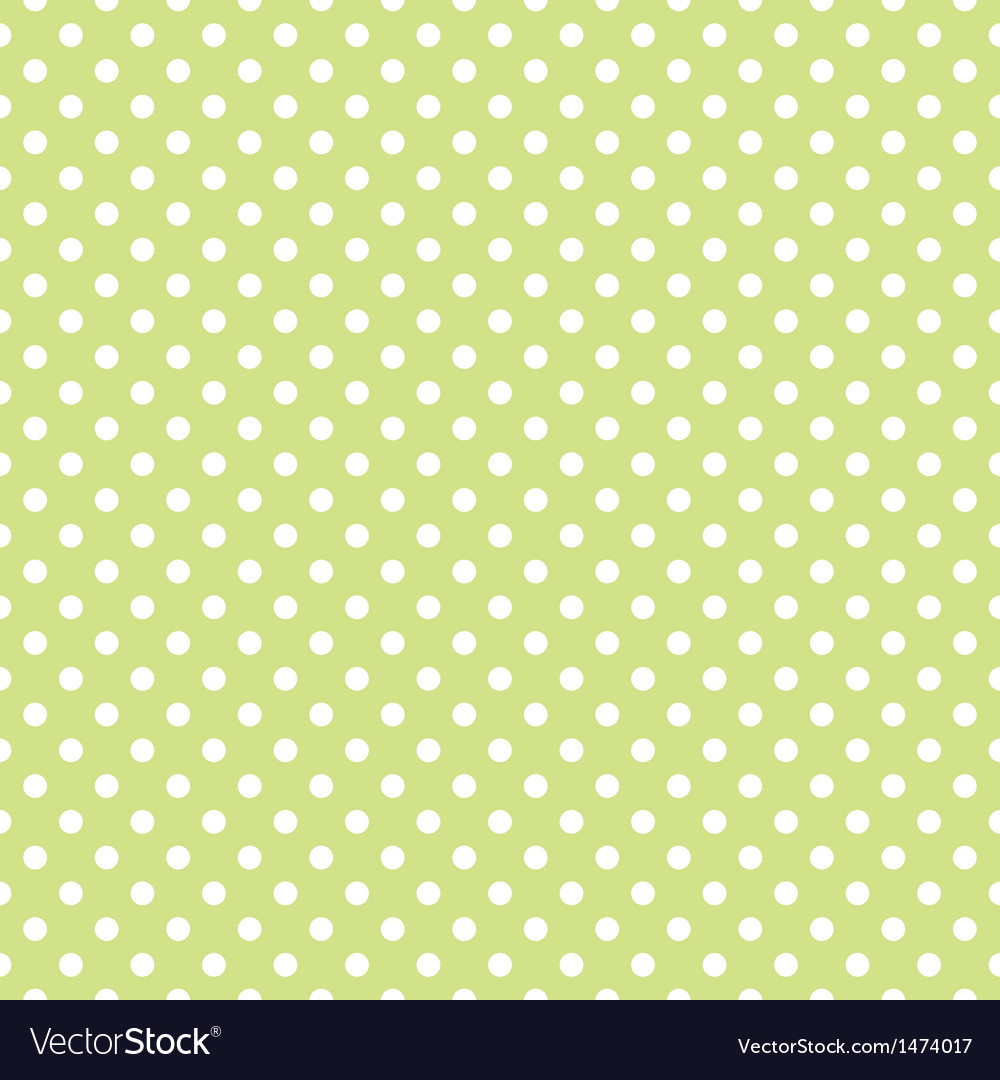 Spring pattern white polka dots green background vector