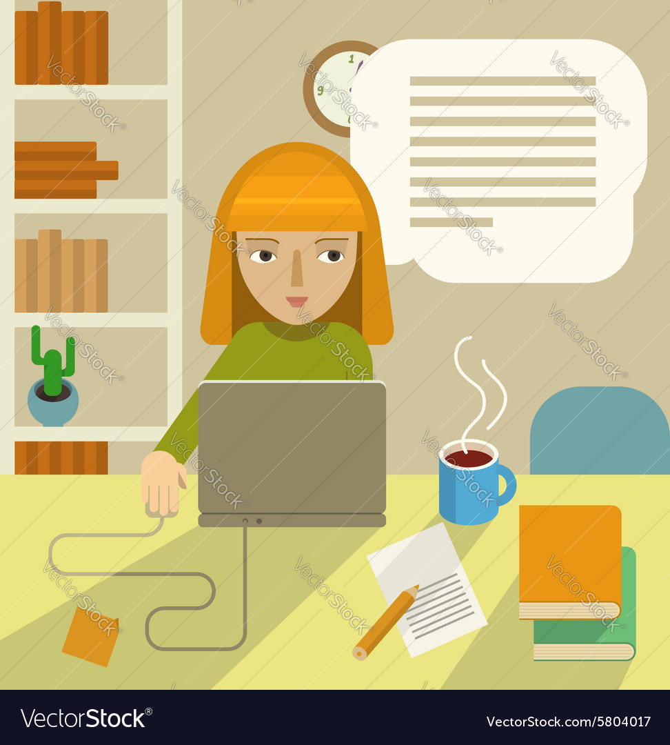 Writer at work vector