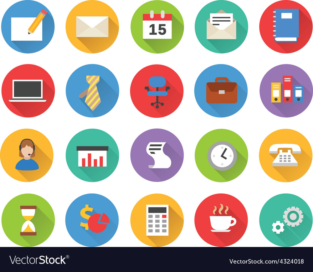 Flat business icons set vector