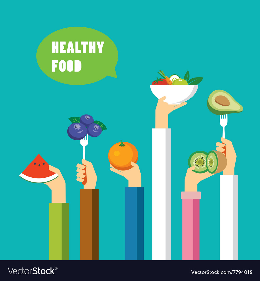 Healthy food concept flat design vector