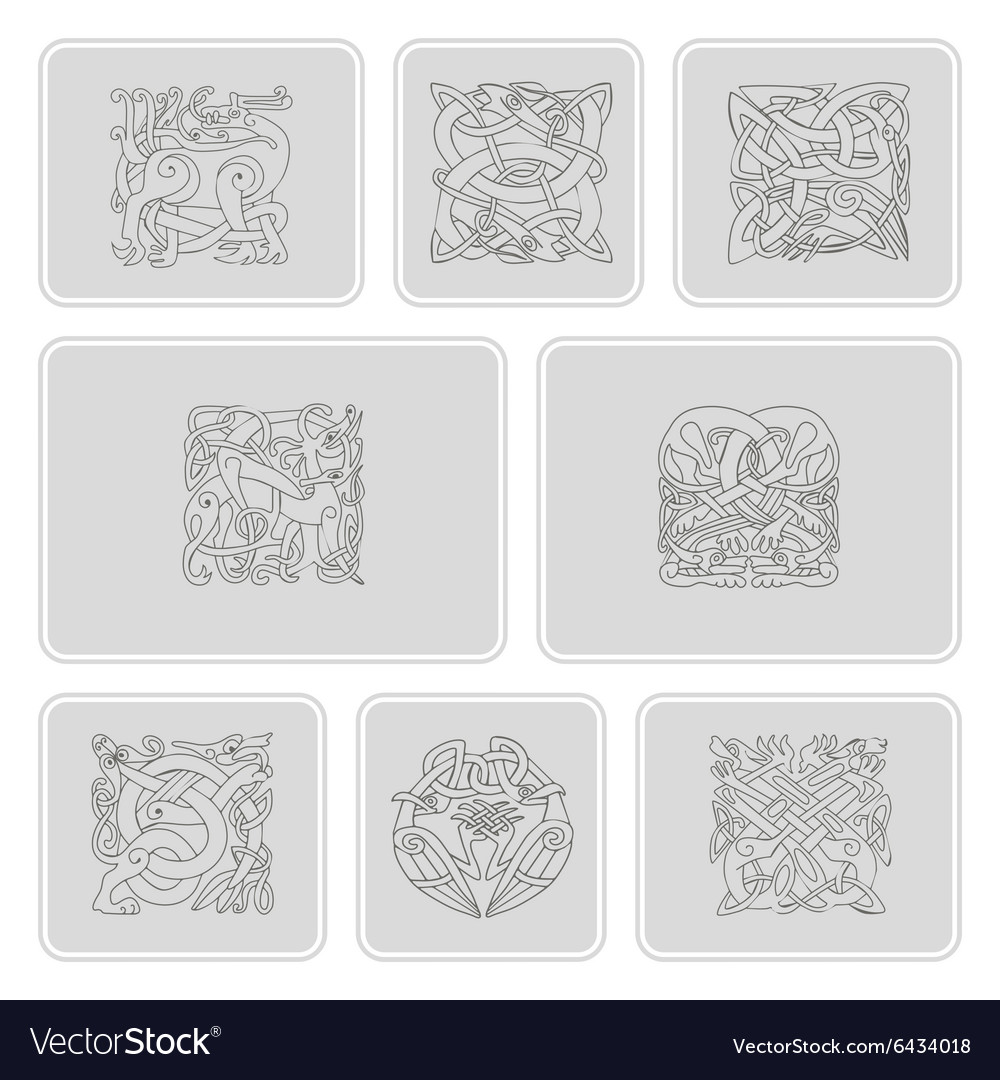 Set of monochrome icons with celtic art vector