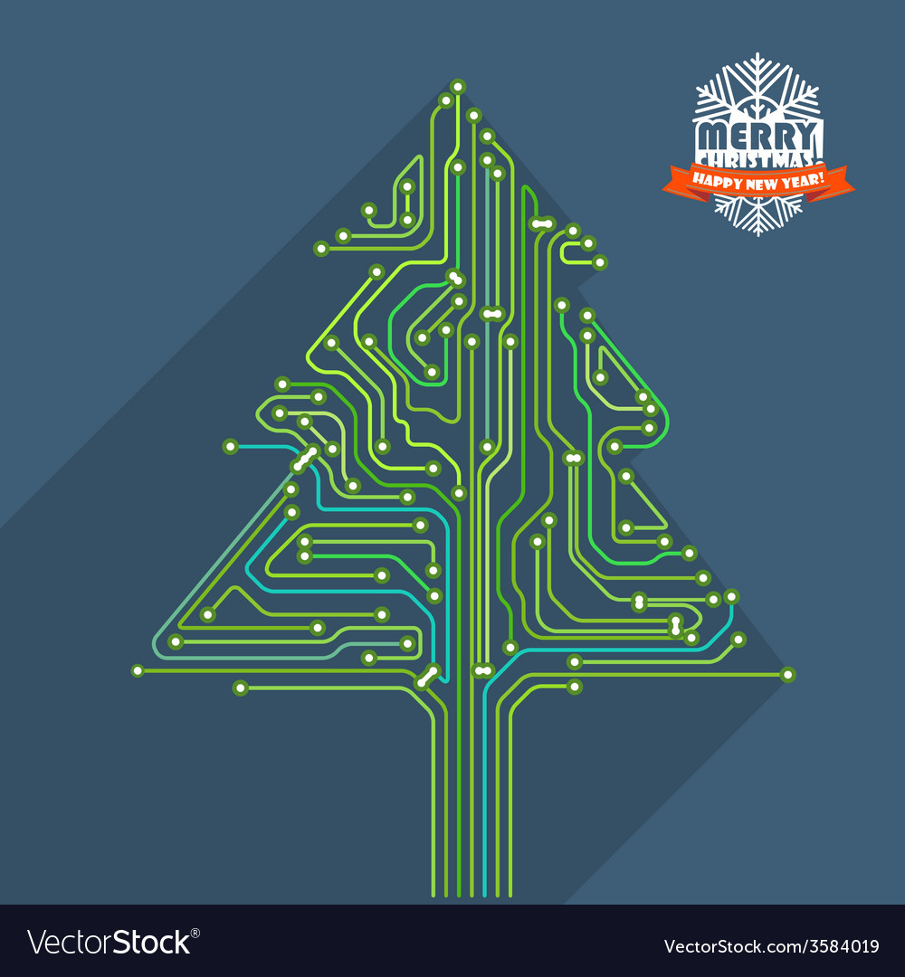 Abstract christmas tree metro scheme vector
