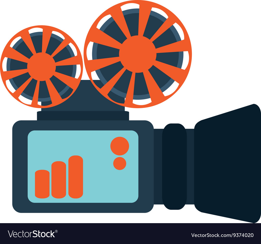 Film projector over white vector