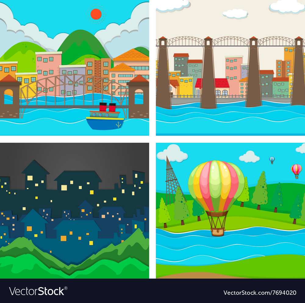 Scenes of city and countryside vector