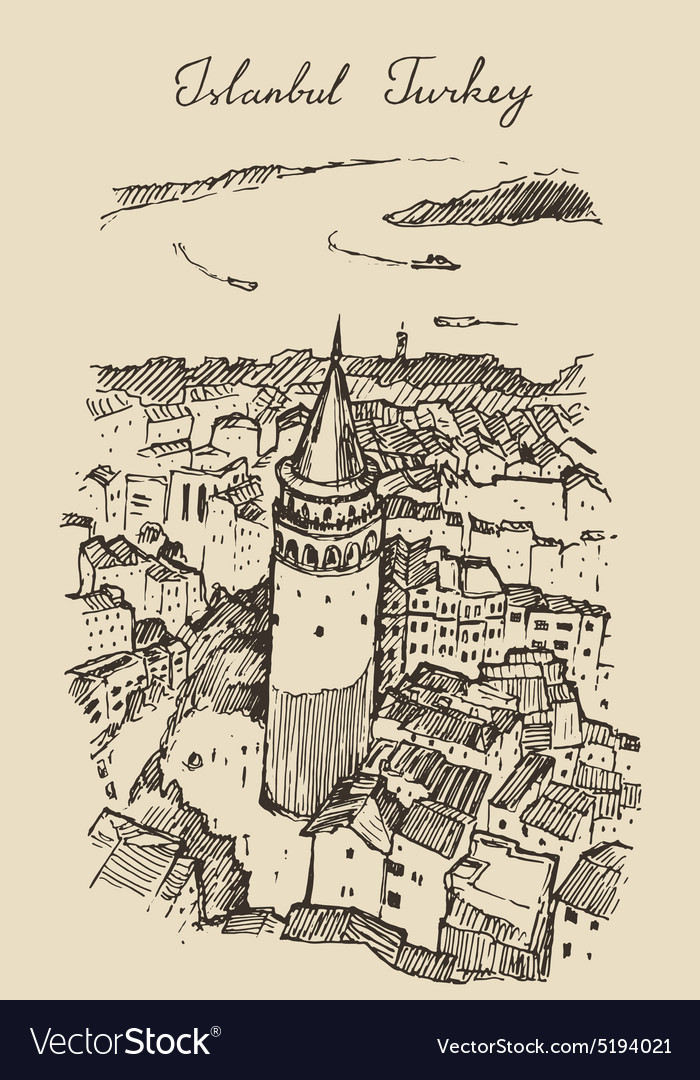 Istanbul turkey city architecture galata tower vector