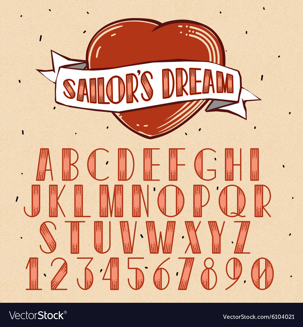 Old school tattoo style font vector