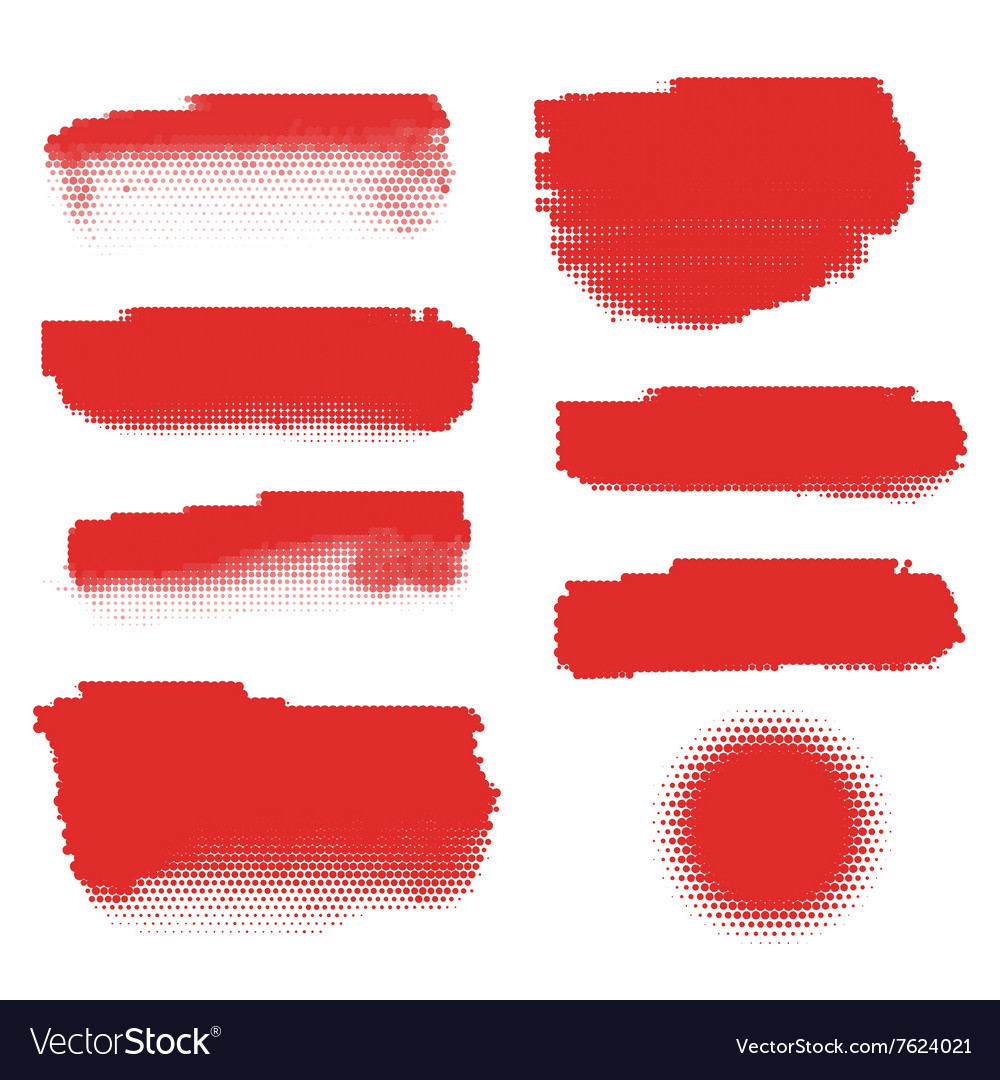 Red halftone banners vector